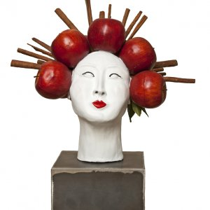 Maiko- clay sculpture and mixed media- W43 x H51 x D47