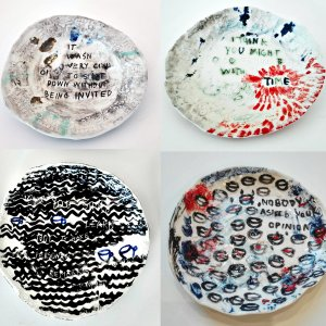 investigation around the Drawing matter. Series of 20 porcelain plates inspired by A Mad tea Party of Alice in Wonderland