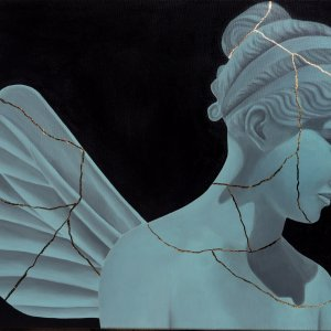 The gold of Psyche 70 x 50 cm acrylic and gold leaf on canvas