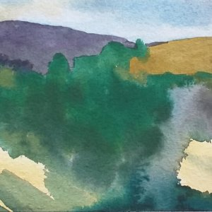 Landscape painted plein air in Tuscany