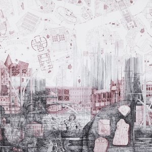 Racconto Veneziano (New historical map of Venice), ink on paper, 124x72,4 cm