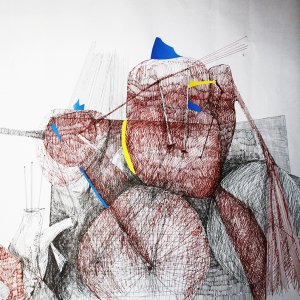 Corpi e spazi urbani, (detail); ink, pencil and collage on paper; 500x0.60 cm