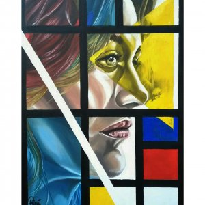 Inspired by the works of Piet Mondrian, mixing his synthesis of neoplasticism with a contemporary figurative.