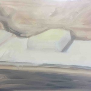 Untitled (Hospital Bed), 2019, oil on canvas, 80 x 45 cm
