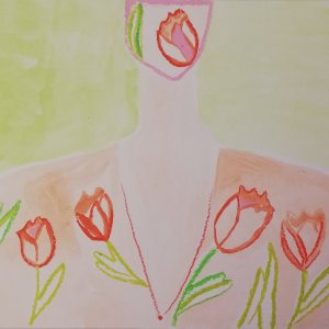 SS2020/Floral/Tulips, Drawings, 27 W x 33 H x 1 cm, 2020, Emanuela Di Filippo