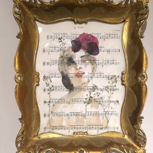 SCRIGNO  - coffee, ink, poppies and wild flowers on musical score in vintage frame