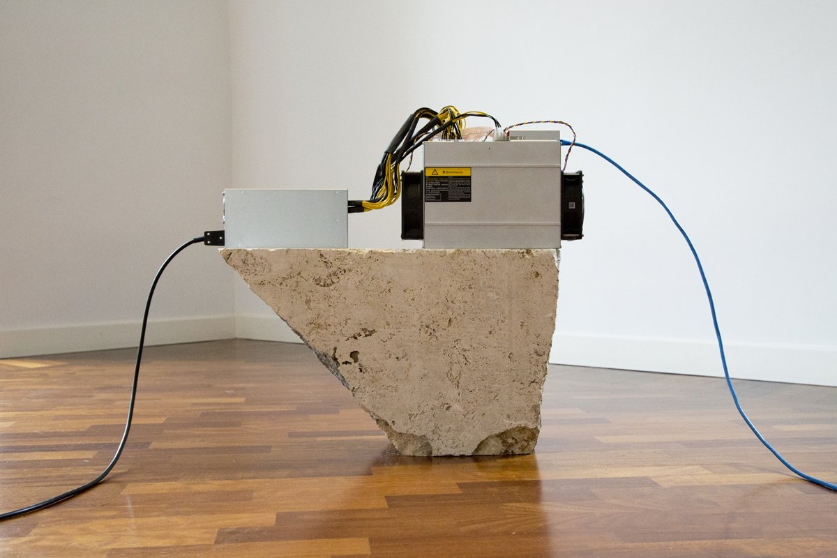 Namsal Siedlecki, Mine, 2018, travertine, Antminer D3, cable RJ-45, electrical cable, variable dimensions