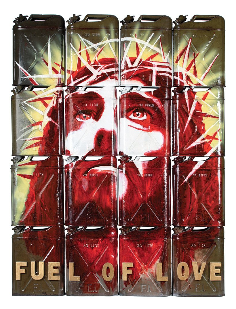 Fuel of Love Fabio Ferrone Viola - hand painted in acrylic on original military tanks from the '70's measures 185 cm height x 140 cm width 20 cm depth