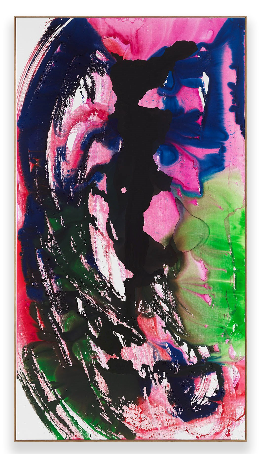 Katharina Grosse, Untitled, 2019, acrylic on canvas, 149 5/8 x 78 3/4 inches © Katharina Grosse und VG Bild-Kunst, Bonn 2020 Photo: Jens Ziehe Courtesy the artist and Gagosian